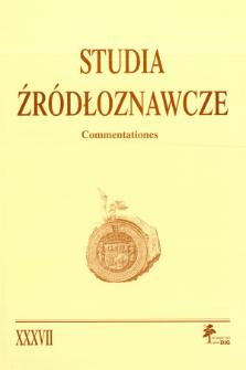 Studia Źródłoznawcze = Commentationes T. 37 (2000)