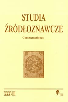 Studia Źródłoznawcze = Commentationes T. 38 (2000), Miscellanea