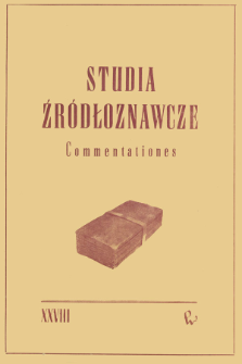 Studia Źródłoznawcze = Commentationes T. 28 (1983), Artykuły i rozprawy
