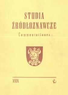 Studia Źródłoznawcze = Commentationes T. 29 (1985)