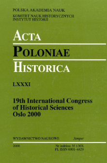 Acta Poloniae Historica T. 81 (2000), Reviews