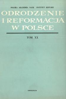 Odrodzenie i Reformacja w Polsce T. 20 (1975)