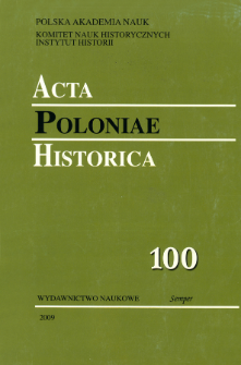 Acta Poloniae Historica T. 100 (2009)