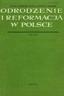 Odrodzenie i Reformacja w Polsce T. 30 (1985)