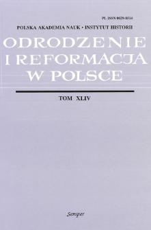 Odrodzenie i Reformacja w Polsce T. 44 (2000)