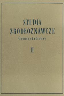 Studia Źródłoznawcze = Commentationes T. 2 (1958)