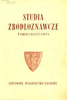 Studia Źródłoznawcze = Commentationes T. 13 (1968)