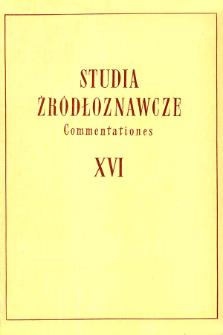 Studia Źródłoznawcze = Commentationes T. 16 (1971)
