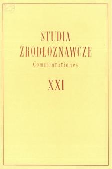 Studia Źródłoznawcze = Commentationes T. 21 (1976)