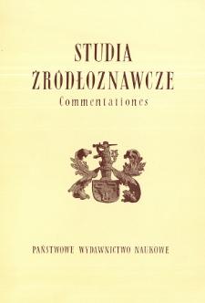 Studia Źródłoznawcze = Commentationes T. 25 (1980)