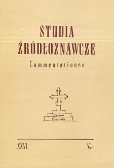 Studia Źródłoznawcze = Commentationes T. 26 (1981)