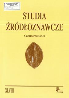 Studia Źródłoznawcze = Commentationes T. 48 (2010)