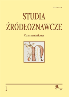 Studia Źródłoznawcze = Commentationes T. 50 (2012), Artykuły recenzyjne