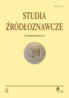 Studia Źródłoznawcze = Commentationes T. 51 (2013)