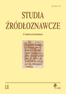 Studia Źródłoznawcze = Commentationes T. 52 (2014), Materiały