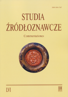 Studia Źródłoznawcze = Commentationes T. 56 (2018), Artykuły recenzyjne i recenzje